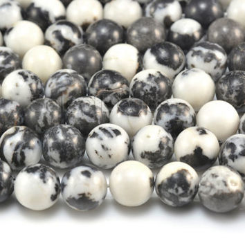 black and white zebra jasper beads - jasper gemstone beads - round gemstone beads - black and white beads - 4-16mm round beads -15 inch