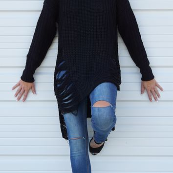 Long Sleeve Distressed Long Sweater