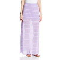 Soybu Womens Sheer Striped Maxi Skirt