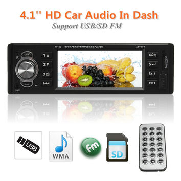 1-DIN Universal 4.1-Inch 12V HD Screen MP3/MP4 MP5 Video Player FM/MMC/AUX/SD/USB Interface In-Dash Car Radio