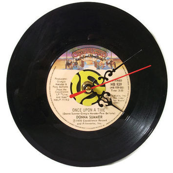 Once Upon A Time Record Wall Clock or Desk Clock by retrograndma