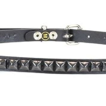 "1-Row Black Pyramid Stud Leather Belt 3/4"" Wide"