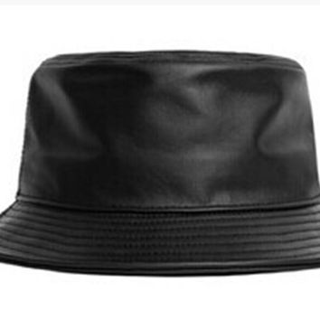 VORON fashion leather fishing cap brand casual bucket Hat out sun protection bonnie hat male camping borras for women men