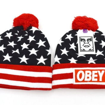 Perfect Obey Women Men Embroidery Beanies Knit Wool Hat Cap