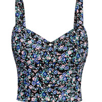 H&M - Patterned Bustier - Black/small floral - Ladies