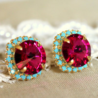 Stud earrings Crystal big pink - 14 k plated gold post earrings real swarovski rhinestones .