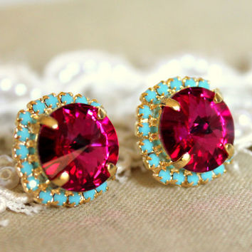 Crystal stud big pink earring  14k plated gold post by iloniti