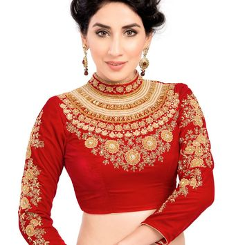 Maharana Full Sleeve Red Velvet Saree Blouse Sari Choli Crop Top - KP-72