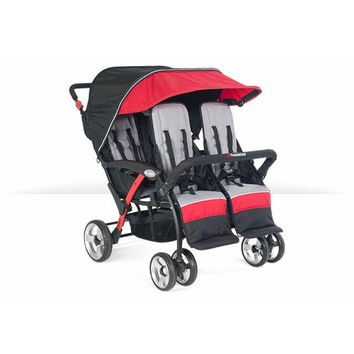 Foundations Baby Infant Carrier Quad Sport 4-Passenger Stroller Red - 4141079