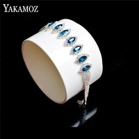 YAKAMOZ Simple Oval Blue Crystal Beads Bracelet for Women Silver Color AAA Zircon Bracelets Female Jewelry Gifts 2017