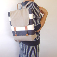 NEW Season New Bag Light Navy and Beige Canvas  by BagyBag on Etsy