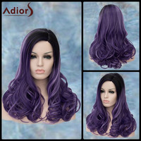 Long Side Parting Curly Black Ombre Purple Lolita Synthetic Wig