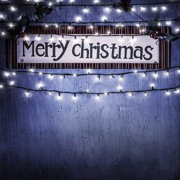 MERRY CHRISTMAS SIGN WITH LIGHTS TITANIUM CLOTH BACKDROP - 5x6 - LCTC9434 - LAST CALL