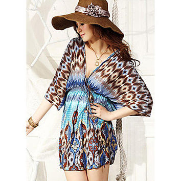 V-neck Bat Bohemian Beach Dress