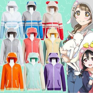 DCCKH6B 9Colors LoveLive! School Idol Project Hooded Hoodie Cosplay Costumes LoveLive u's Zoo Jacket Sweatshirts Daily Sportswear
