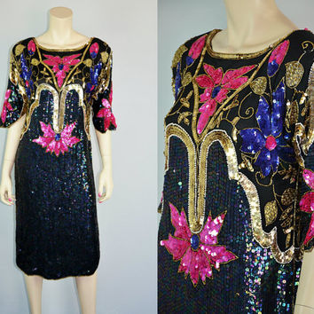 Vintage 80s Sheer Silk Sequin Beaded Art Deco Dress 1980s Cocktail Glam Trophy Draped Embellished Bedazzled