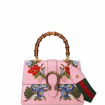 Gucci Dionysus Small Embroidered Floral Satchel Bag, Pink