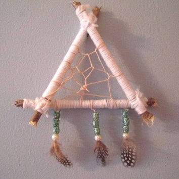 Dream Catcher, Small Dream Catcher, White and Teal Dream Catcher, Boho Dream Catcher, Native American Dream Catcher, Bohemian Decor, Tribal