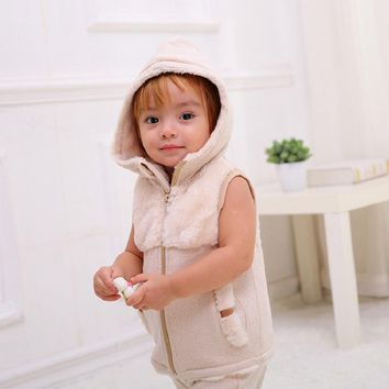 Infant Unisex Baby Girl Boy Winter Organic Cotton Faux Fur Hooded Vest Outerwear Toddler Tiny Baby Sleeveless Jacket Waistcoat