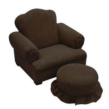 Komfy Kings, Inc 24008 Little Queen Chocolate Micro Tween Chair and Ottoman