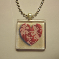 Heart Glass Tile Pendant