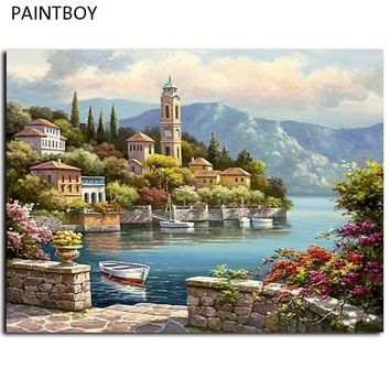 Seascape Frameless Pictures Painting By Numbers Wall Art Europe Style DIY Canvas Oil Painting Home Decor For Living Room G440