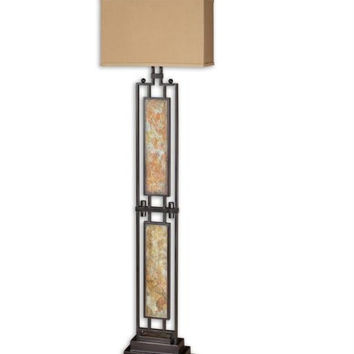 Modern Floor Lamp - Antiqued Black Metal And Aged Slate Body