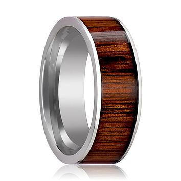 Tungsten Wood Ring - Rare Koa Wood Inlay - Tungsten Wedding Band - Polished Finish - 6mm - 7mm - 8mm - 10mm - Tungsten Wedding Ring