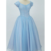 1950s Authentic vintage Dresses-50s Blue Chiffon Ballerina Length Wedding Prom Dress