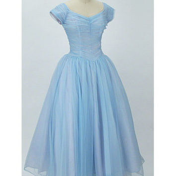 e90eab579aa 1950s Authentic vintage Dresses-50s Blue Chiffon Ballerina Length Wedding  Prom Dress. bluevelvetvintage