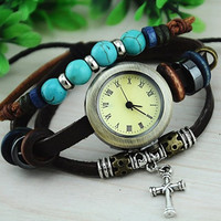 forever2you — Vintage Style Watch with Turquoise Beads and Cross Pendant 35