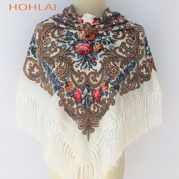 HOT Sale New Fashion Russian Brand Big Size Square Scarf Women Hijabs Cotton Long Tassel Print Scarf Spring Winter Shawl For