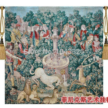 100 x 100cm fashion home decoration Cotton woven fabric soft unicorn hunting Aubusson textile tapestry wall hangings pt-78