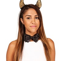 Black/Gold Pyramid Studded Devil Horns Set
