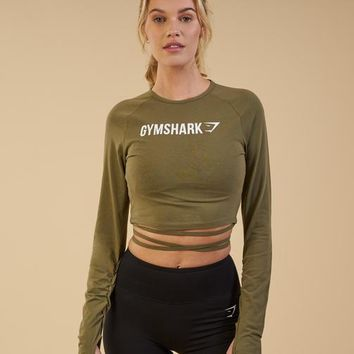 Gymshark Long Sleeve Ribbon Crop Top - Khaki