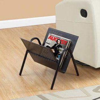 Black Metal Magazine Rack
