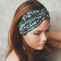 Emerald, Hippie Boho Turban Twist Headband, emerald green, black pattern print