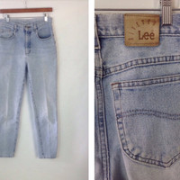 Vintage  High Waist Jeans Denim High Waisted Jeans Soft Worn In Mom Jeans Light Wash Denim Riveted Lee Jeans Light Rinse 28 junior 11 petite