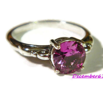 Color Change Alexandrite Ring, Scroll Ring, 8mm Stone, Right Hand Ring