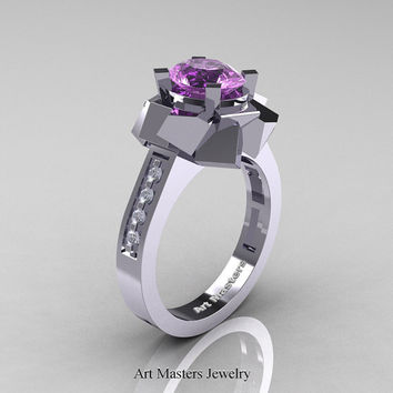 New Modern 14K White Gold 1.0 Ct Oval Lilac Amethyst Accent White Diamond Engagement Ring AR136-14KWGDAM