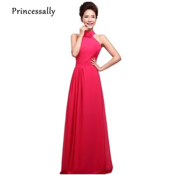 Vestidos Long Chiffon Bridesmaid Dress Halter Slim Prom Party Gown Pleated A line Bridesmaid Dress Plus Size Dresses Under $50