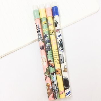 W34 3X Erasable Traveling Tower Camera Gel Pen Writing Signing Rollerball Pen Student Stationery School Office Supply 0.5mm