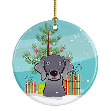 Christmas Tree and Weimaraner Ceramic Ornament BB1603CO1