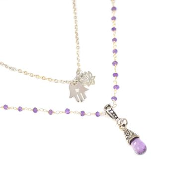 Amethyst Rosary Chain and Teardrop Sterling Silver Necklace with Lotus and Hamsa Charms