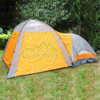 Tent Multi Person One Room One Hall Fiberglass Orange+Gray Outdoor Camping 210T