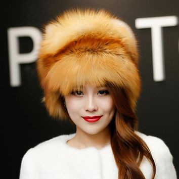 Autumn and winter ladies hat headdress leather fur cap Russian  girl hat 2017 new fashion fur hat fox fur