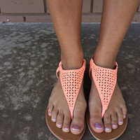 Neon Coral Sandals