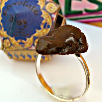 Harry Potter Chocolate Frog Ring by LittleWooStudio on Etsy