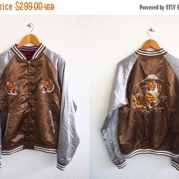 BIG SALE 25% SUKAJAN Japan Dragon Yokosuka Tiger Roar 80's Embroidery Japanese Souvenir Satin Yakuza Reversible Bomber Jacket Size M