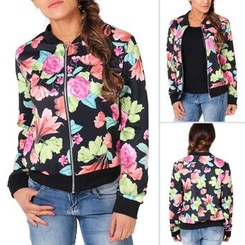 Retro Women Bomber Jacket Zip Up Floral Biker Coat Blazer Casual Cardigan Coats